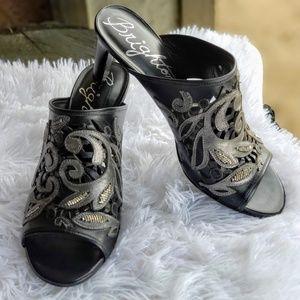 Brighton Revue Black Beaded Sandals Mules Slides 9